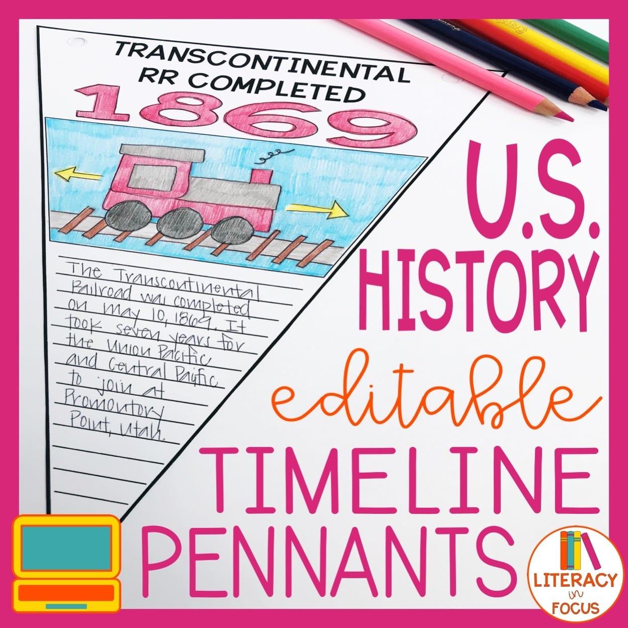 US History Timeline Pennants