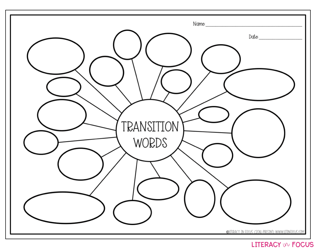 Transition Words Bubble Map