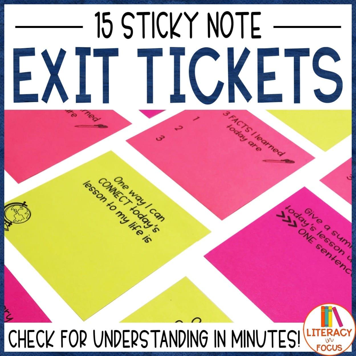 sticky note exit ticket
