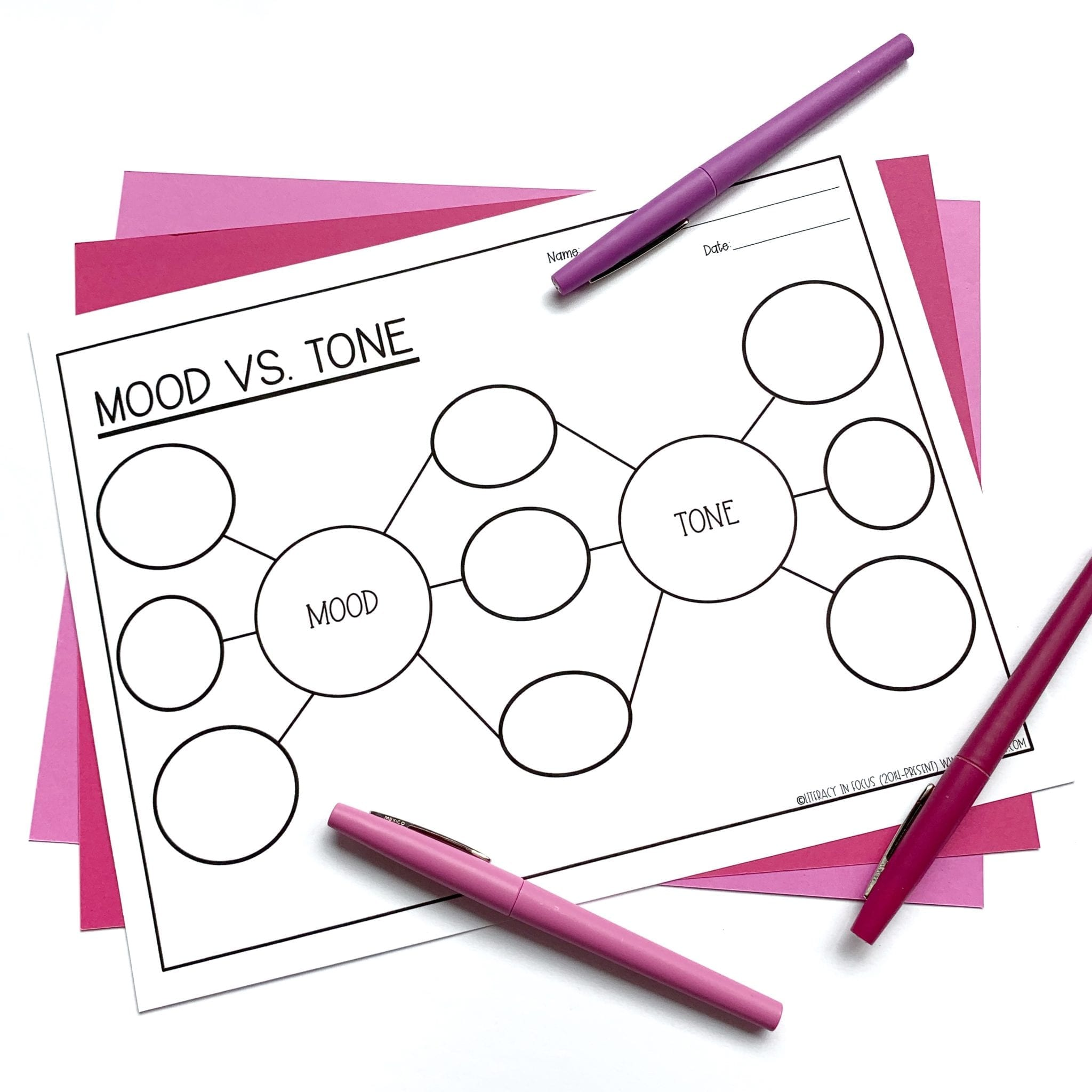 Mood vs Tone Graphic Organizer