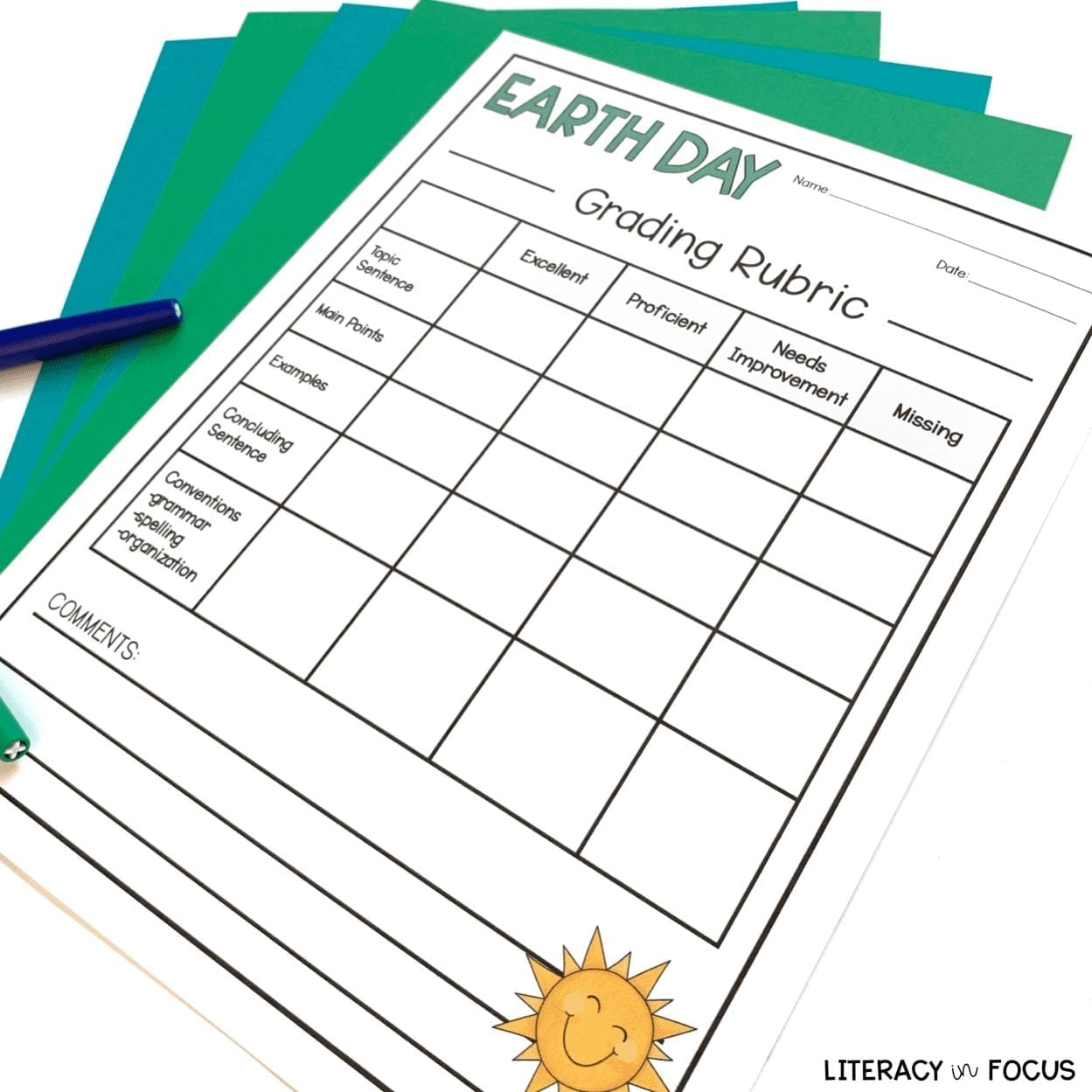 Earth Day Writing Rubric