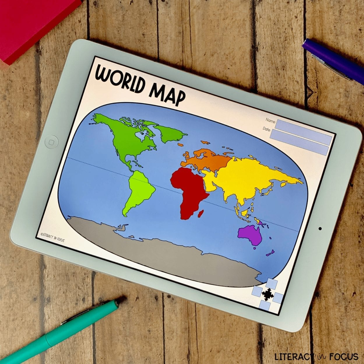 Printable World Map Worksheet and Quiz | Literacy in Focus | A Blog ...