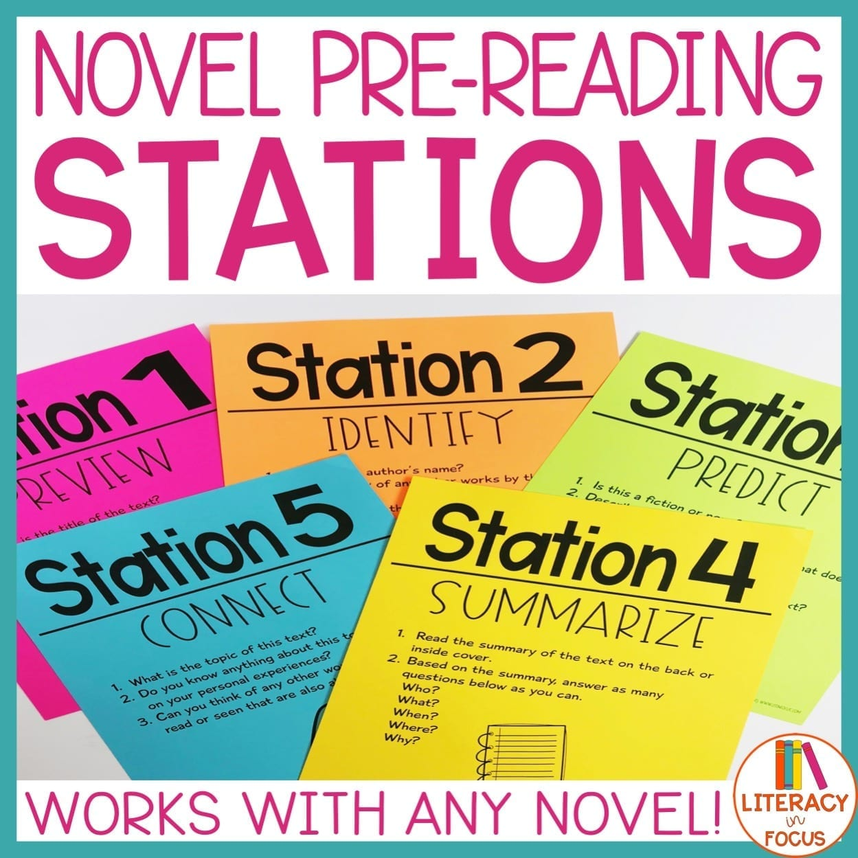 novel study pre reading stations